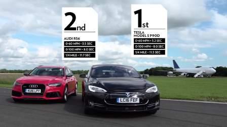 特斯拉Model S vs奥迪RS6 TopGear测试