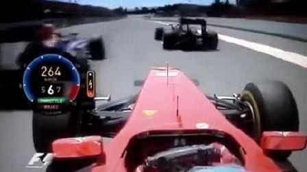 主视角呈现 阿隆索F1赛车的百公里加速