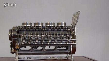 牛人打造32缸迷你发动机